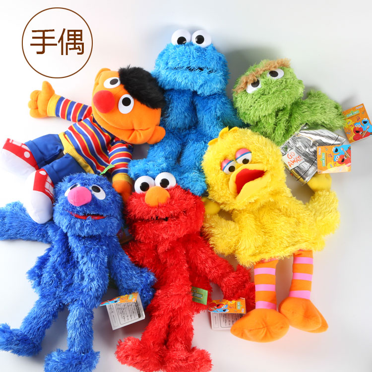 все цены на Candice guo! super cute plush toy cartoon Sesame Street Elmo Grover cookie monster hand puppet kids birthday gift 1pc