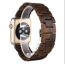 Luxury Handmade Wooden Strap Classic butterfly Buckle Watch Bands With Watch Band Adapter For Apple Watch iWatch 42mm Men