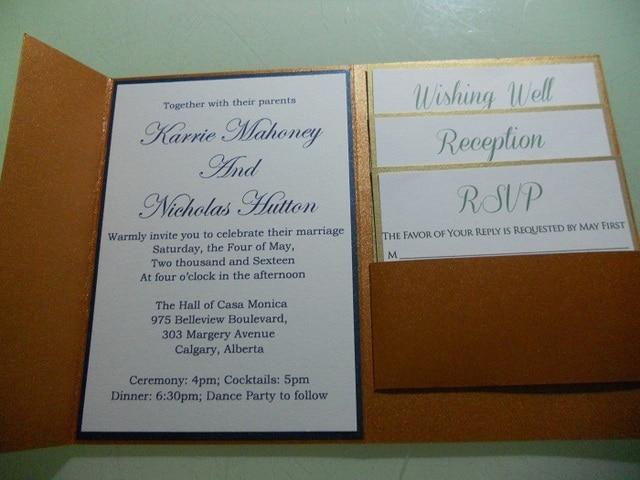 wedding invitations rsvp. brown pearl paper pocket fold wedding, Wedding invitations