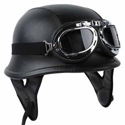 MAYITR Black Motorcycle DOT German Style Half Helmet + Goggles for Harley Biker Pilot Unisex Motorbike Helmets M/L/XL Size