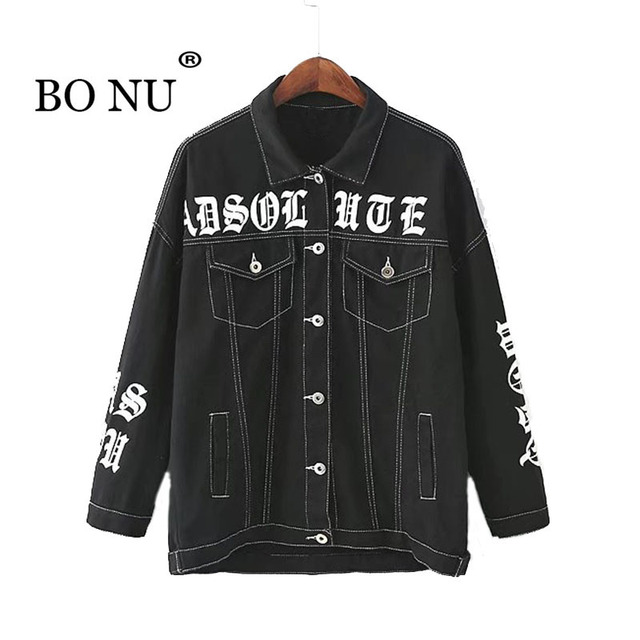 f7e73ffd97c BONU Women Streetwear Black Denim Jacket Loose Letter Print Jean Jackets  Oversize Black Vintage Jacket Turn