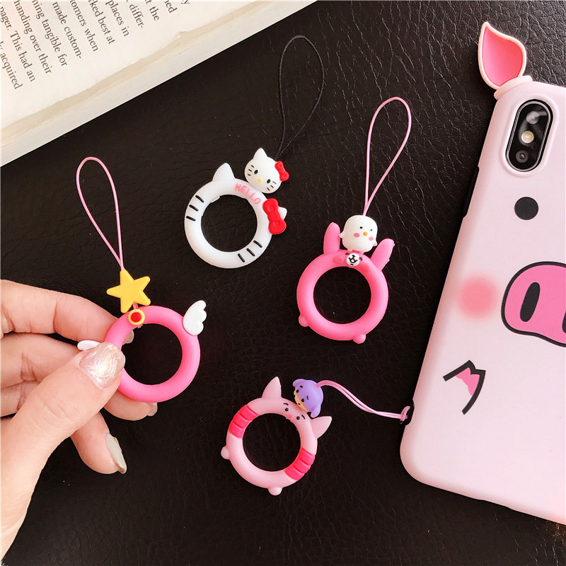 Cute cartoon silicone hanging rope key ring straps pendant ring buckle personality shatter resistant universal U disk lanyard in Mobile Phone Straps from Cellphones Telecommunications