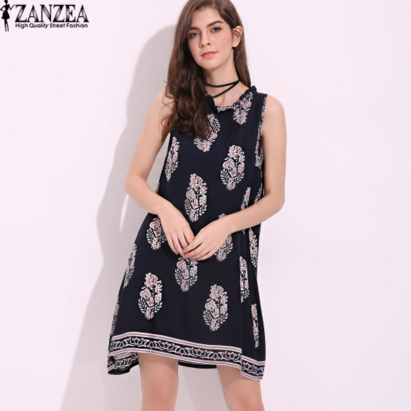 2018 Vestidos Plus Size S-5XL Kvinners Floral Crewneck Beach Sundress Summer Ladies Party Beach Tunika Løse Mini Short Dress