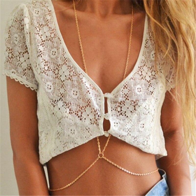 New body sexy chain summer beach jewelry bikini accessories necklace bodychain waist belly accessories chain women bijoux