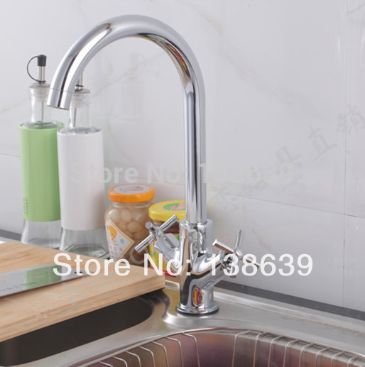 Free shipping 2015 nice design single hole 2 handles kitchen faucet hot and cold mixer tap