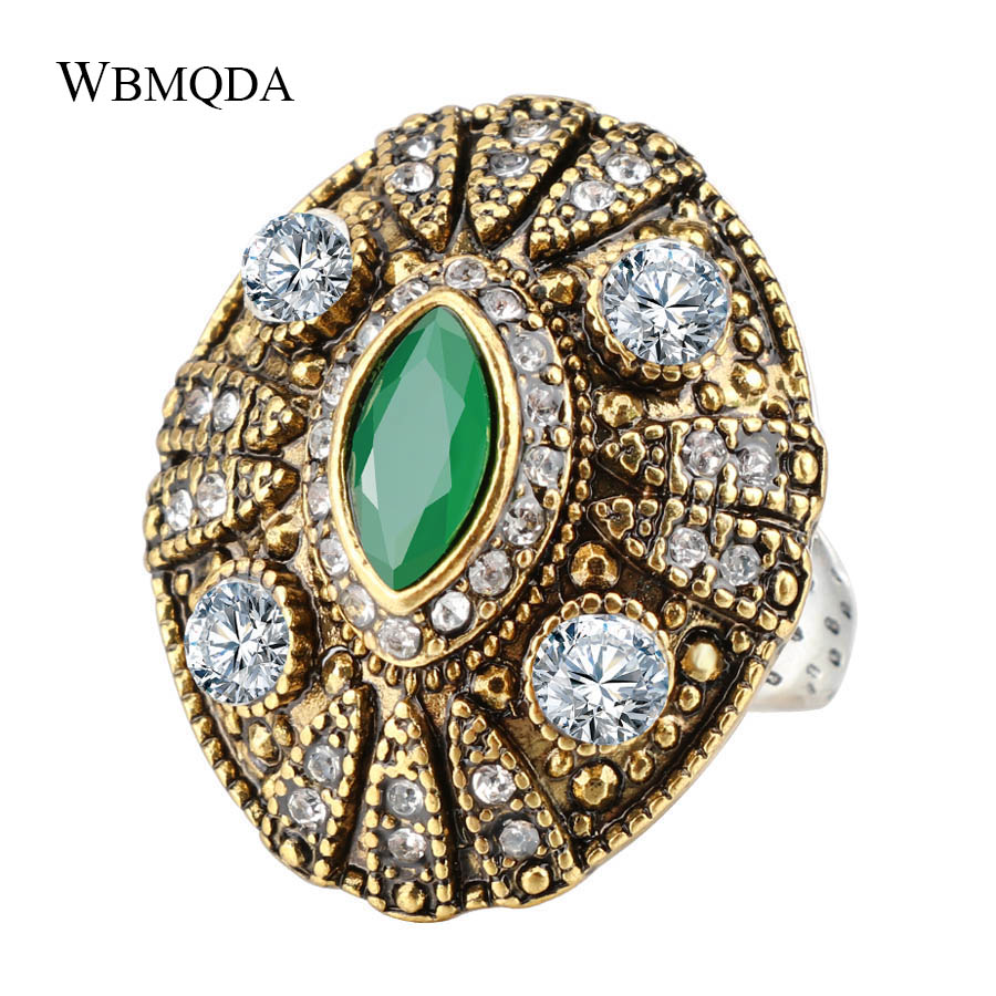Unique Trendy Antique Gold Resin Rings For Women Vintage Crystal Silver Ring Party Accessories Indian Jewelry 2018 Free Shipping
