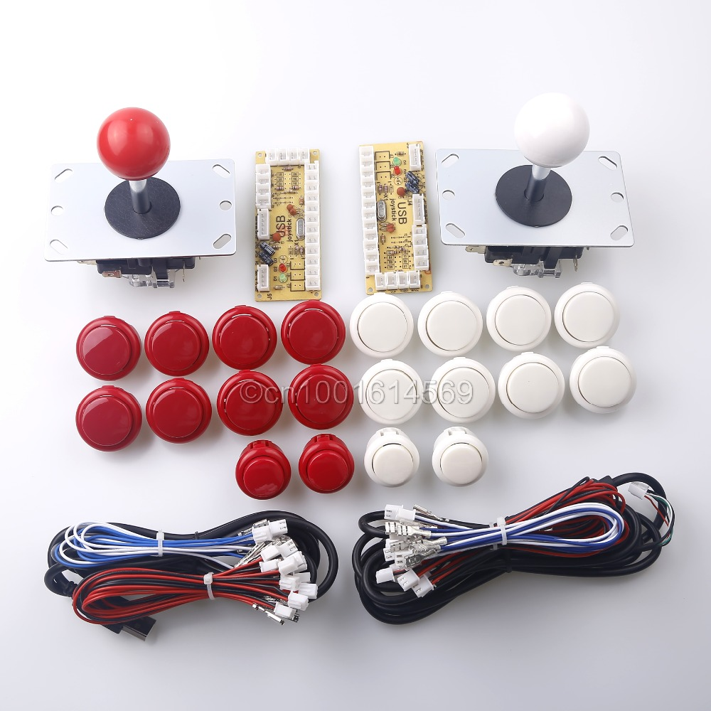 Arcade Game DIY Parts 2x Zero Delay USB Encoder + 2x 8 Way Joystick + 20x Arcade Push Buttons for PacMan Games & PC Game Control
