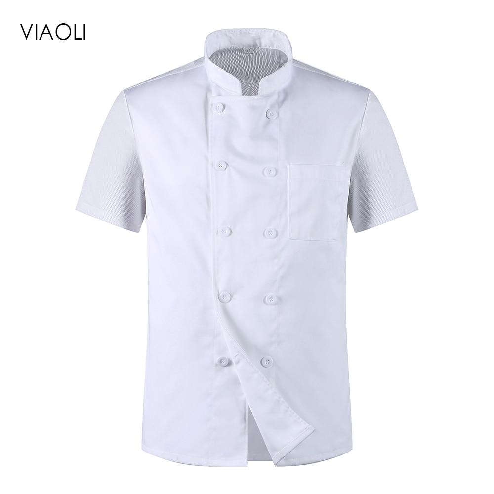 Viaoli Unisex Chef Jacket Hotel Chef Uniform Sleeve Breathable Workwear Coat Catering Restaurant Kitchen Bakery Chef Clothes New
