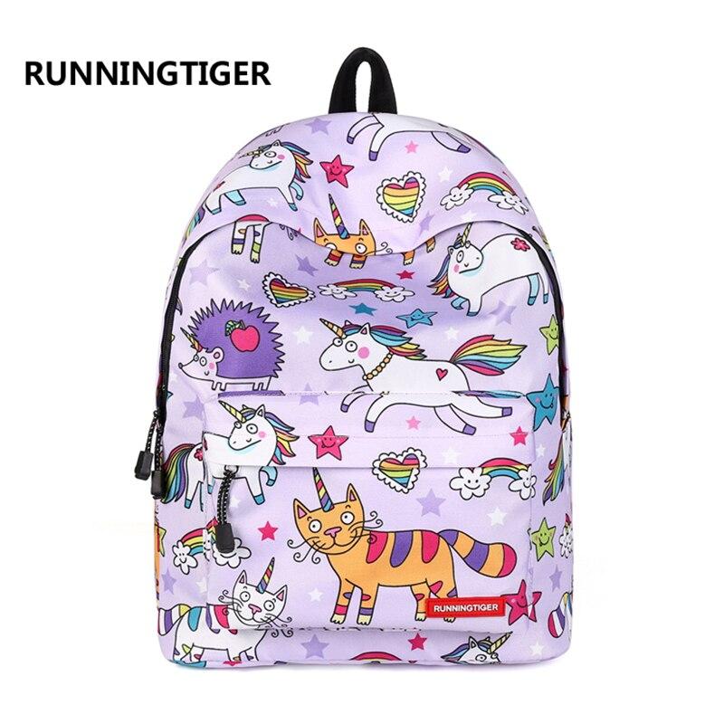 RUNNINGTIGER Backpack Women Colorful Unicorn Printed Backpacks Large  Capacity School Bags for Girls Female Travel Bagpack-in Backpacks from  Luggage   Bags ... b1201b2543342