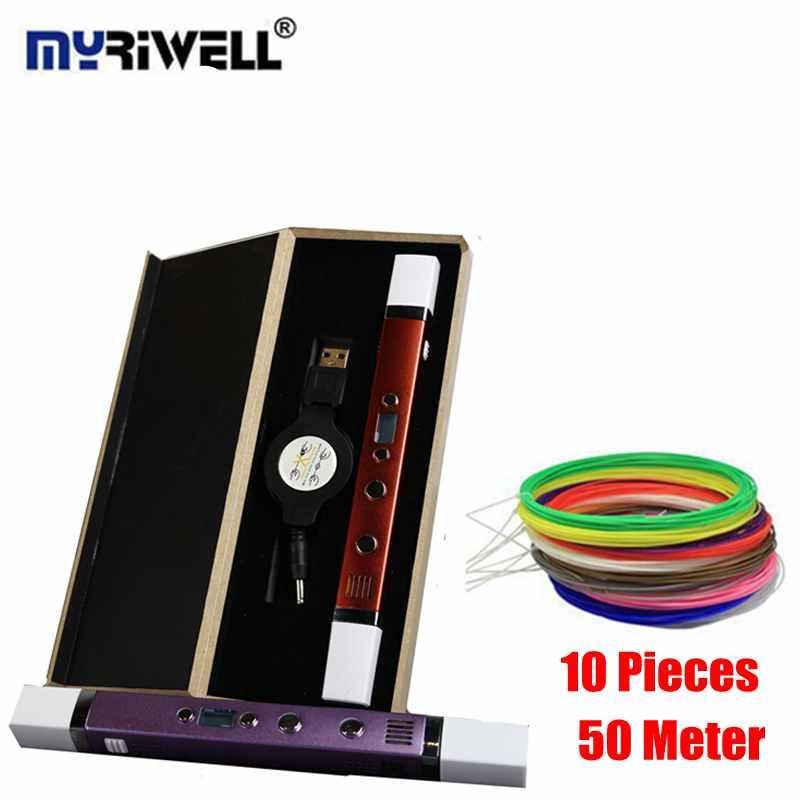 Prix pour 3D Stylos Ajouter 50 Mètre 10 Couleur 1.75mm ABS/PLA Filaments Myriwell 3D Stylos + 5V2A USB Carging Puissance Banque Meilleur Plus Sûr 3D Impression Stylo