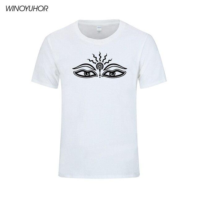 Eyes Buddha Symbol Printed T Shirts Men 2018 Summer New Short Sleeve