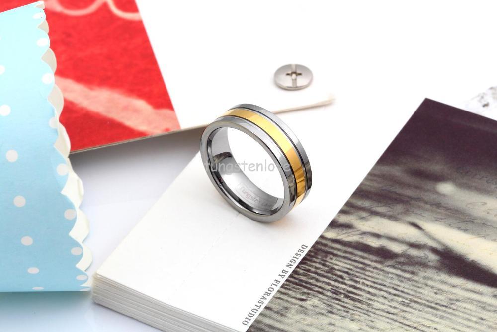 Yüksək keyfiyyətli gümüşü qızıl volfram karbid üzüklər - Moda zərgərlik - Fotoqrafiya 4