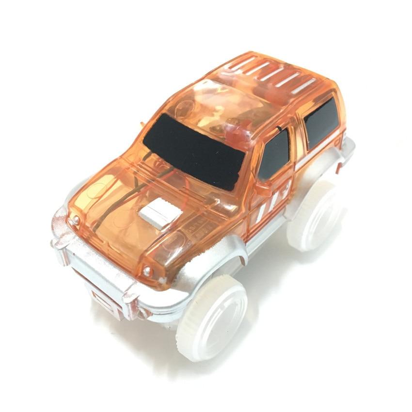 1 Pcs Electronics Led Car For Magic Glow Racing Track Set Plastic ABS Educational Flashing Car Model Christmas Gift For Children