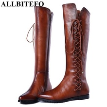 ALLBITEFO size 33-43 kont design fashion women boots NEW warm fur inside winter shoes flat snow boots women motorcycle boots