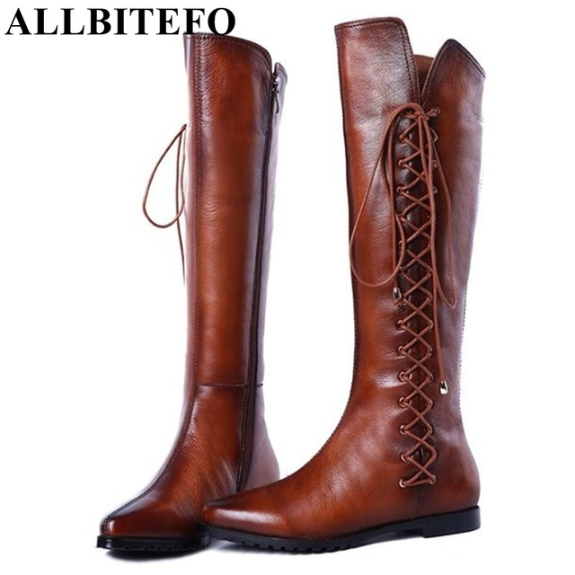 ALLBITEFO Size 33-43 Knot Design Boots Fur Inside Motorcycle Boots