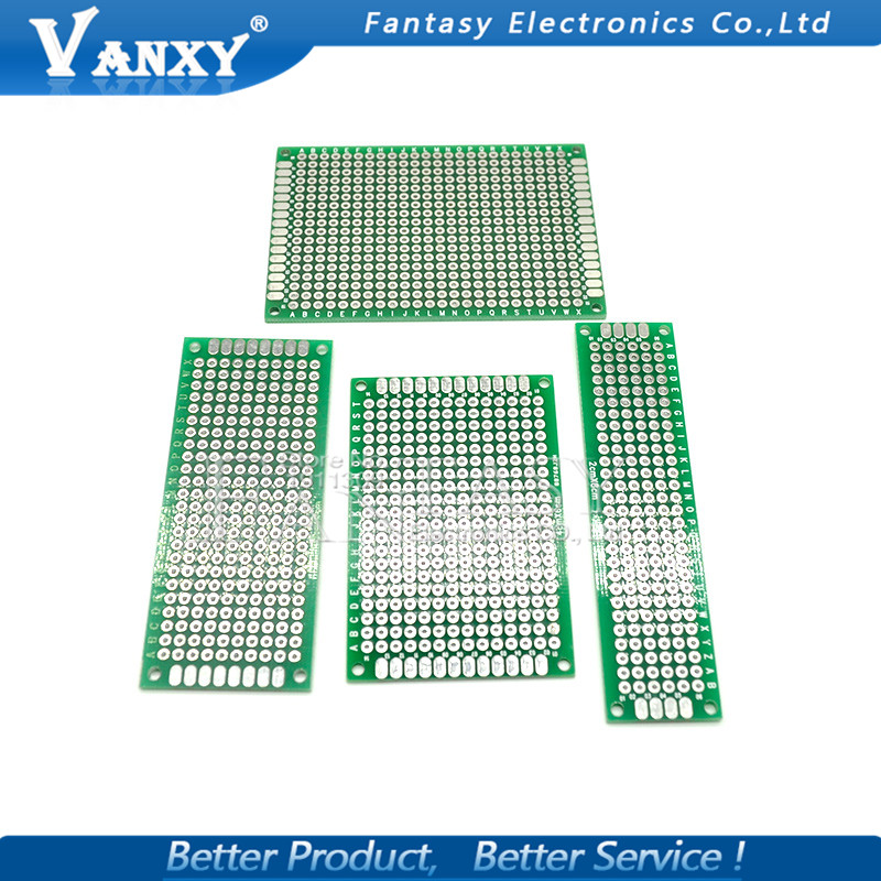 4pcs 5x7 4x6 3x7 2x8 cm 5*7 4*6 3*7 2*8 double Side Copper prototype pcb Universal Board for Ardui4pcs 5x7 4x6 3x7 2x8 cm 5*7 4*6 3*7 2*8 double Side Copper prototype pcb Universal Board for Ardui