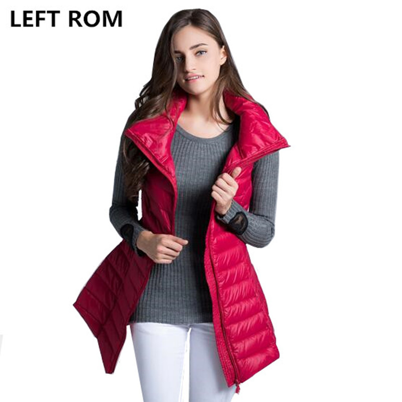 LEFT ROM Fashion women keep warm Super light thin 90% White duck down down jacket/women slim Fit Stand collar Long Down vest