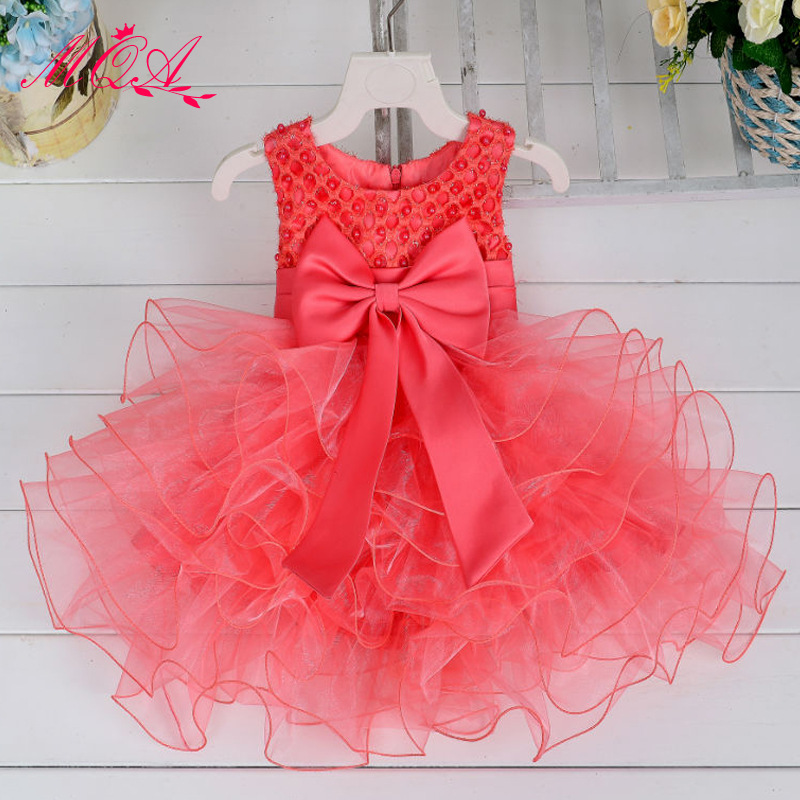 0-2Years Toddler Girls Birthdays Dresses Beaded Bowknot Boutique Tulle Baby Baptism Purple Red White Christening Dress Costume