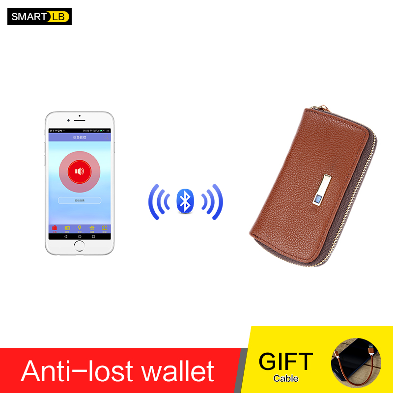 Men Genuine Leather Anti Lost Intelligent Bluetooth High Quality Card Holders Card Case GPS Smart Wallet Purse Male