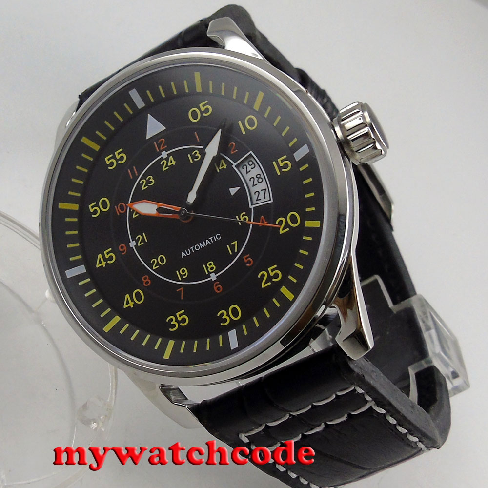 44mm planca black dial 24 hours yellow marks date window automatic movement mens watch-in Mechanical Watches from Watches    1