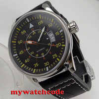 44mm planca black dial 24 hours yellow marks date window automatic movement mens watch