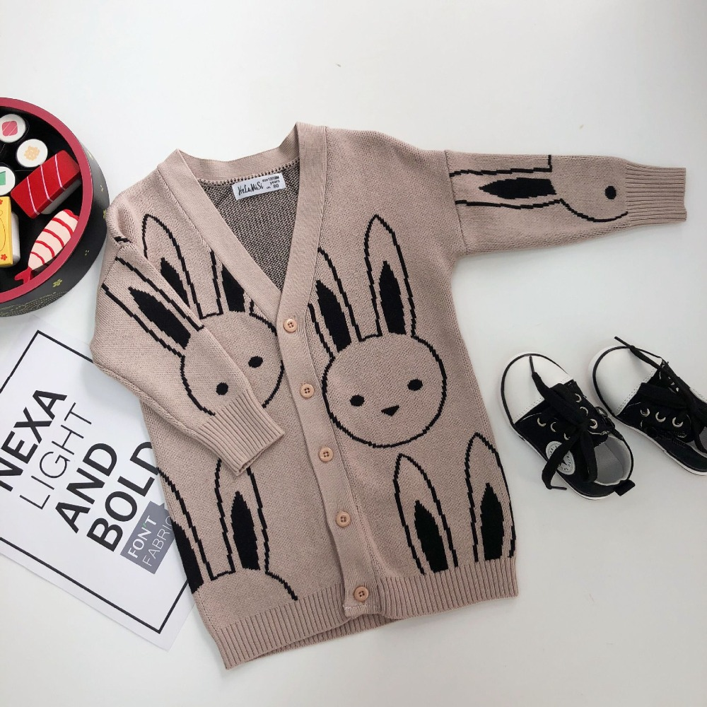 2018 Autumn Baby Girls Cardigans Rabbit Pattern Kids Boys Knitted Jackets Coats Cotton Sweaters For Girls Knitwear autumn kids girls sweaters and cardigans cartoon animal boys sweaters cotton baby girls knited jackets winter children knitwear