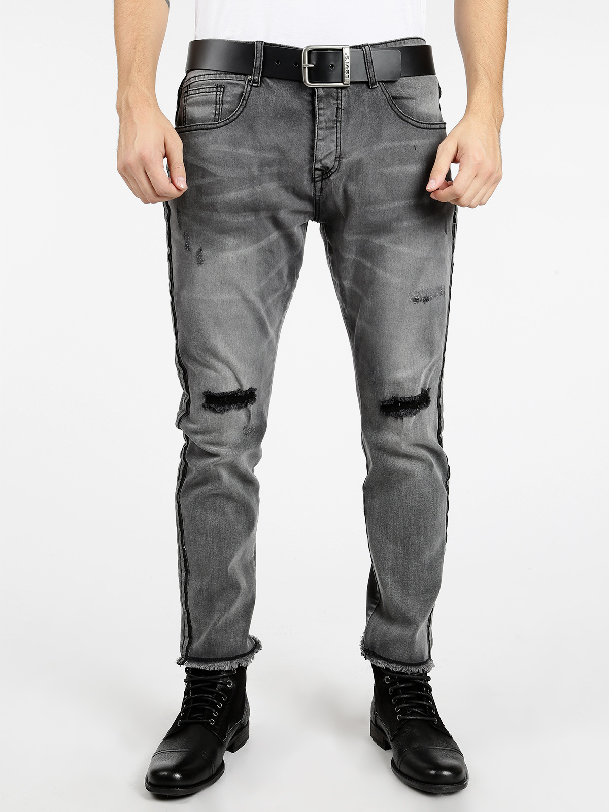 Gray Jeans With Tear