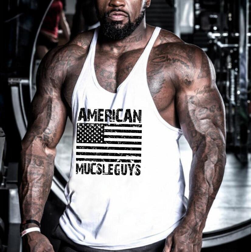 Muscleguys American Flag Gyms Clothing Mens Sleeveless   Tank     Tops   Summer Male Fitness Vest Bodybuilding Undershirt tanktop