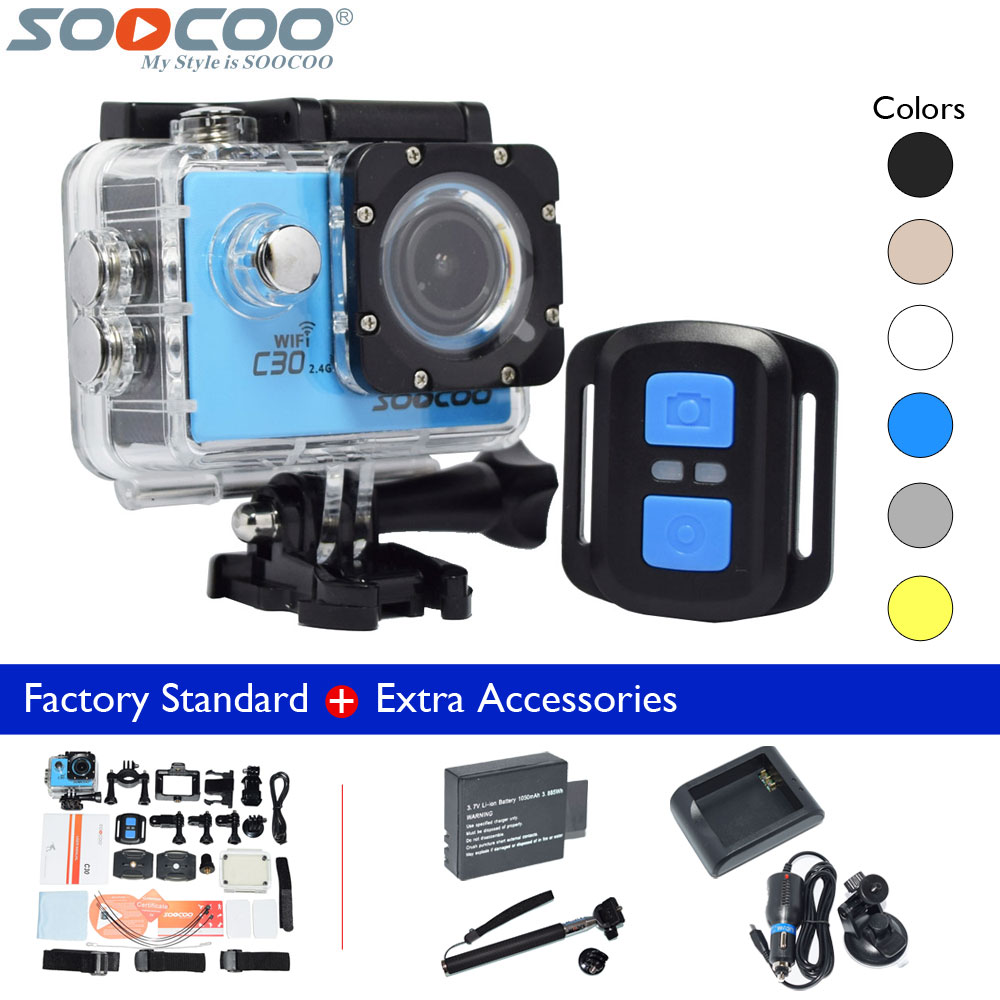 Original SOOCOO C30R 4K WiFi Sport DV Gyro Remote Waterproof Action Video Camera+Extra Battery+Charger+Selfie Stick+Car Charger hawkeye firefly 6s 4k sport fhd dv 16m cmos wifi waterproof camera quick time player required