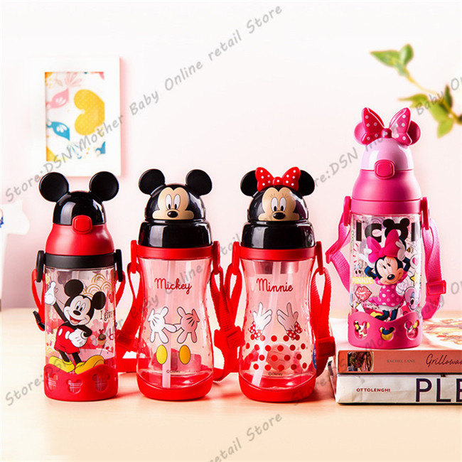 Disney-children-press-the-cup-handle-baby-with-straw-leak-proof-plastic-cup-flip-student-resistance