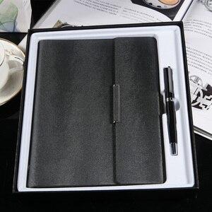 Image 4 - Özel yapılmış A5 ofis gevşek yapraklı defter hediye kutusu dizüstü imza kalem iş hediye seti özel yapılmış logo Spiral defter