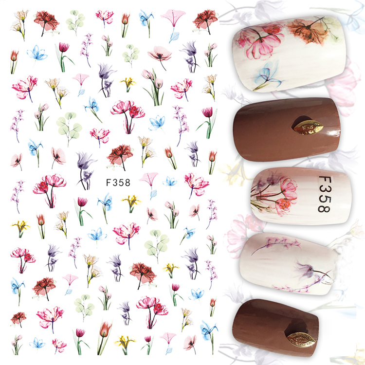 1pcs 3D Colorful Flowers Super Thin Nail Stickers Tips Nail Adhesive Decals Single Designs Manicure Decoration Nail Wraps F358