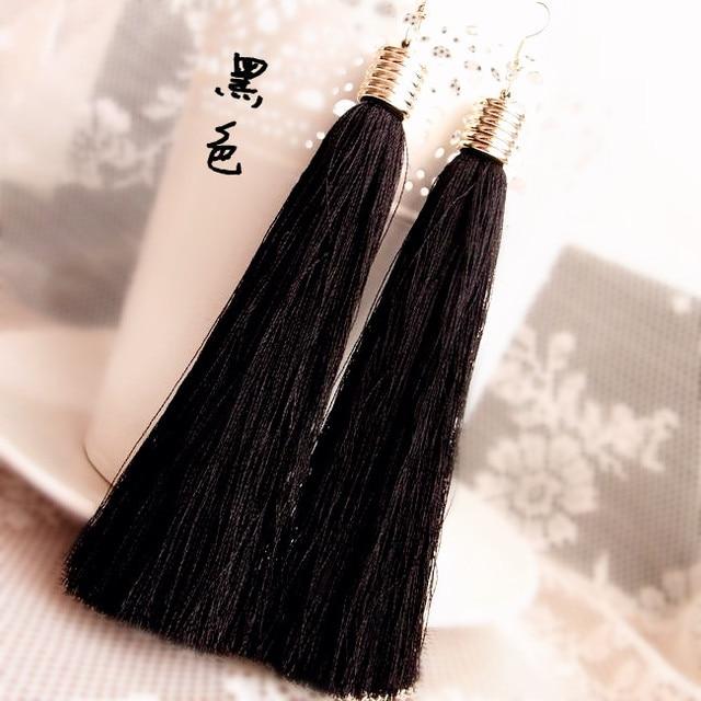 Momoko black vintage tassel earrings long earring big earrings fashion earrings  free shipping C45-C50