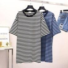 все цены на New Fashion Designer Women T-shirt Long Stripe Loose Round Neck Pullovers T-shirts Short-sleeved Ladies Casual Tops Summer W103 онлайн