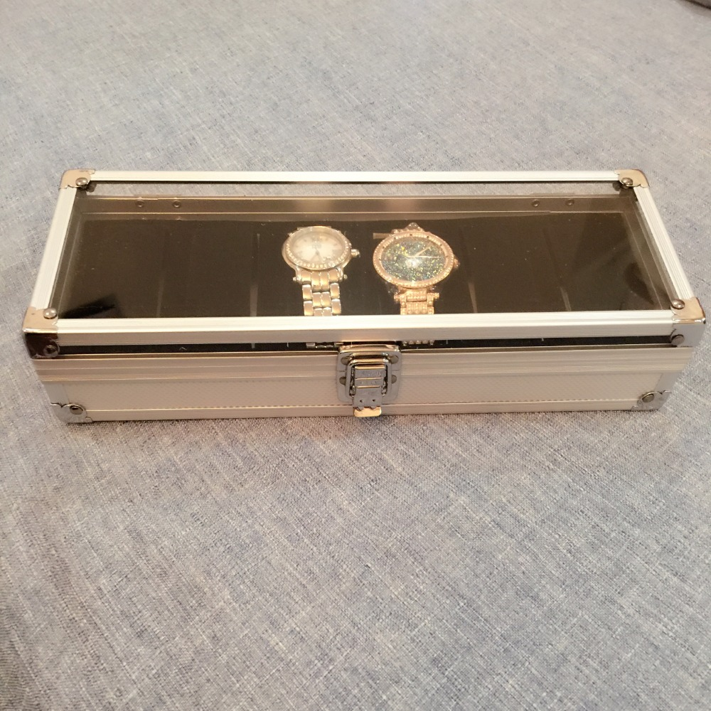 Men Watch Box Case 6 Slots Wrist Watch Display Box Storage Holder Organizer Watch Display Square Box Aluminium Hot Worldwide 6