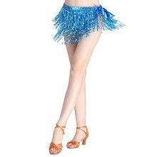 Sexy Tassels Sequins Skirts Belly Dance Women Natural Waist Skirt Performance Costume Hip Wrap Mini