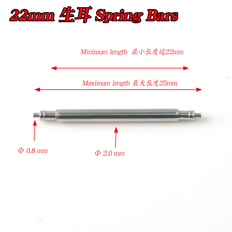 Watch Band Strap Accessories Stainless Steel 22mm Φ2.0 Spring Bar 10pcs +Watchbands Repair Tool Strap Link Pin