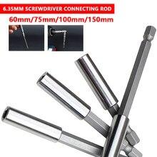 """1/4"""" 60/75/100/150mm Magnetic Extension Bit Set Socket Hex Shank Rod Tool Long Handle Screwdriver Tip Holder"""