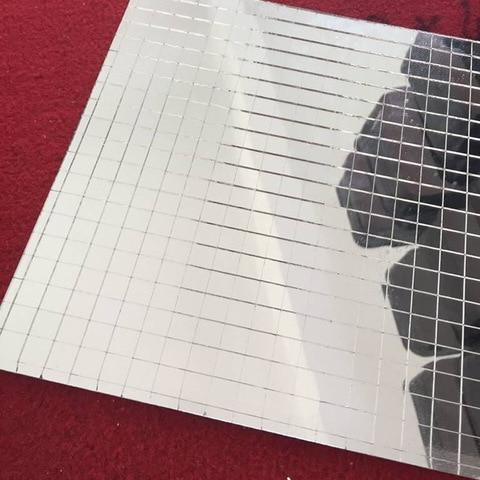 Telha de Vidro do Mosaico Espelho de Mosaico de Vidro Real de Vidro Artesanato em Vidro Mini Praça da Folha Auto adesiva Prata
