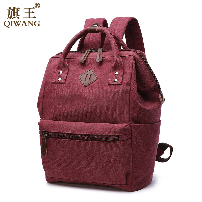 Qi Wang Canvas backpack Women bag For teenage girl school bag vintage canvas kanken backpacks solid mochila feminina School bag canvas backpack women for teenage boys school backpack male