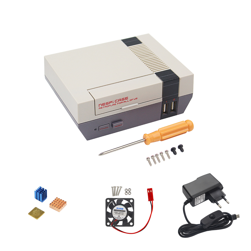 NESPi Raspberry Pi 3 Model B Case Retroflag Nespi Case Classical Box + Fan + Heat Sink + 16G SD Card + Power Adapter+HDMI Cable 10 in 1 raspberry pi 3 abs case 8gb sd card gpio adapter 2pcs heat sink hdmi cable 2 5a power adapter with switch cable for pi 3
