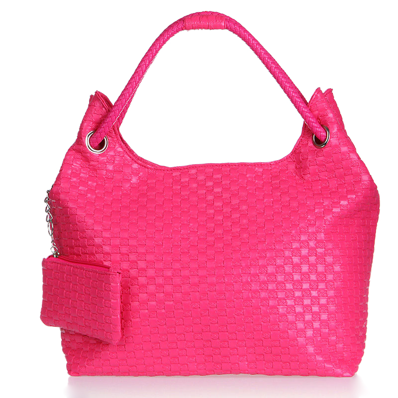 Women Solid color Weaving fashion single shoulder Bags Pink