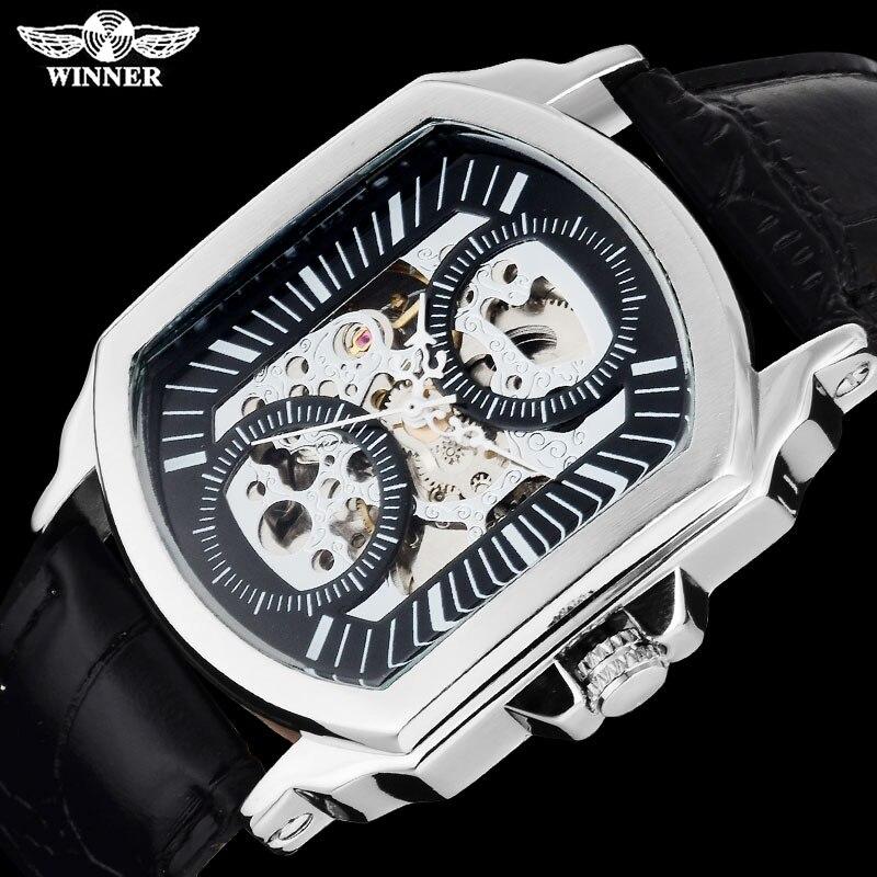 ccc9e64a5ef Twinner moda deporte hombres relojes mecánicos correa de cuero caliente  casual marca automático de los hombres relojes esqueleto Relogio Masculino