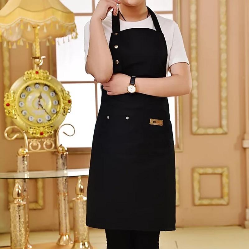 Color puro cocina delantal para mujer hombres Chef camarero tienda de café barbacoa peluquería delantales logotipo personalizado regalo Baberos venta al por mayor