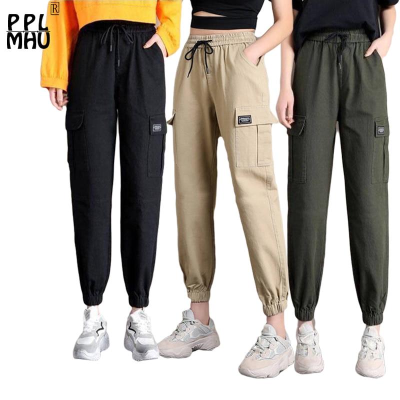 Women's High Waist HaremPants 2019 New Streetwear Punk Black Cargo Capris pants Female Cool Jogger Fashion Hip Hop Long Sweat
