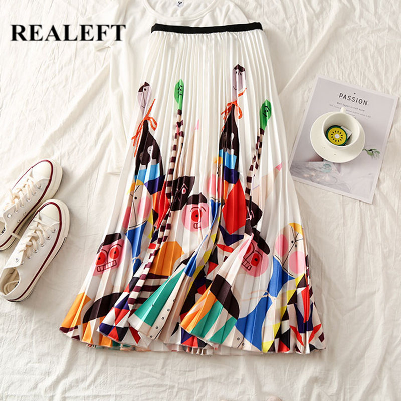 REALEFT New Arrival Summer Women Cartoon Printed Elegant Pleated Long Skirts High Waist Harajuku Tulle A-Line Mid-Calf Skirts
