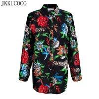 JKKUCOCO Fashion Brand Shirts Chinese Style Nice Flowers Print Shirt Women Shirts Turn Down Collar Cotton