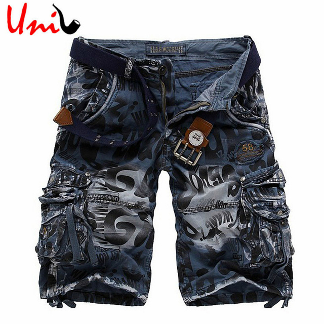 Big Size 29-42 New Summer 2016 Fashion Short Cargo Pants Men Leopard Camouflage Male Overalls Military Trousers YN442