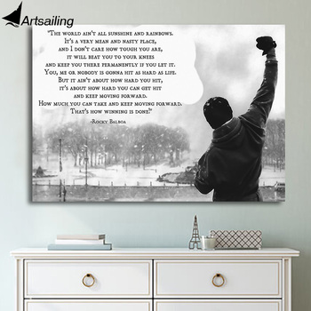 1 Piece Rocky Balboa motivational quotes Canvas Paintings Printed Art poster Home Decor Wall Art Canvas Print Painting no frame canvas