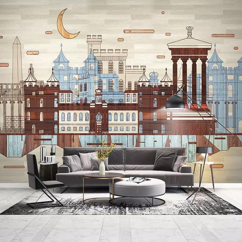 painting study building living murals retro wallpapers walls paper mural